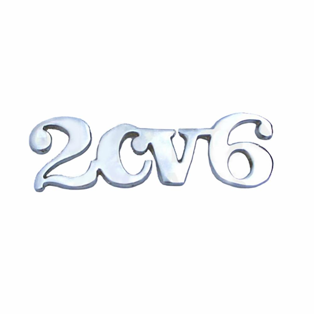 Embleem 2CV6 chroom, plastic, 80x25mm