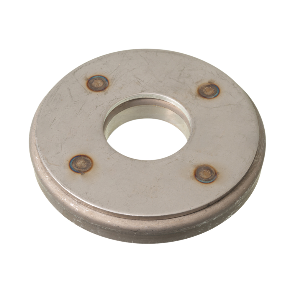 Stainless steel backing for suspension cylinder bump stop